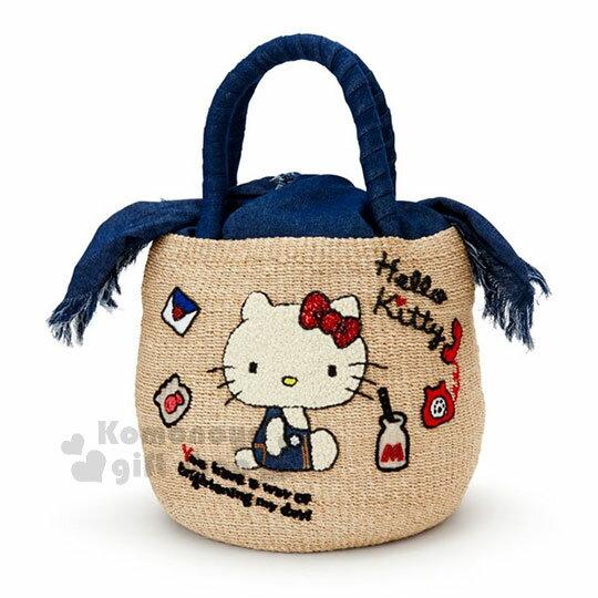 〔小禮堂〕HelloKitty手工編織刺繡水桶包《藍提把.側坐.牛奶.電話》