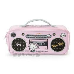 〔小禮堂〕Hello Kitty 皮質掀蓋式拉鍊筆袋《灰粉.收音機》化妝包