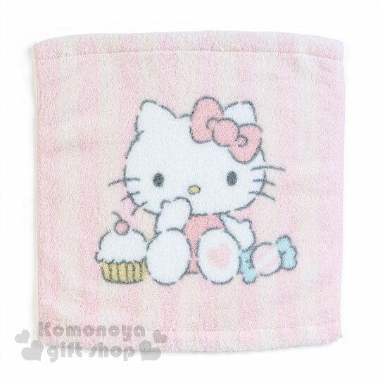 〔小禮堂〕HelloKitty純棉方型毛巾《粉條紋.糖果.蛋糕.坐姿》34x36cm.無撚系