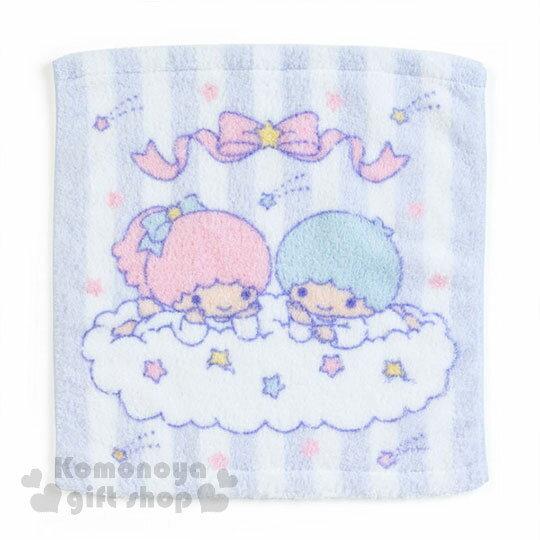 〔小禮堂〕雙子星純棉方型毛巾《淺紫.條紋.星星.趴雲朵》34x36cm.無撚系