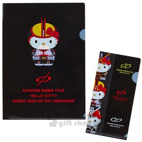 〔小禮堂〕HelloKittyx假面騎士555L型分類文件夾組《2入.黑.紅字.紅黃盔甲》資料夾.L夾
