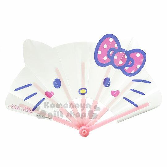〔小禮堂〕HelloKitty造型塑膠折扇《白.大臉.點點蝴蝶結》