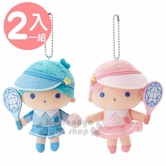 〔小禮堂〕雙子星絨毛玩偶吊飾組《2入.粉綠.拿球拍》掛飾.娃娃.復古網球系列