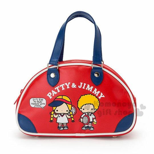 〔小禮堂﹞Patty&Jimmy皮革波士頓手提包《S.藍紅.球拍》化妝包.收納包.復古網球系列