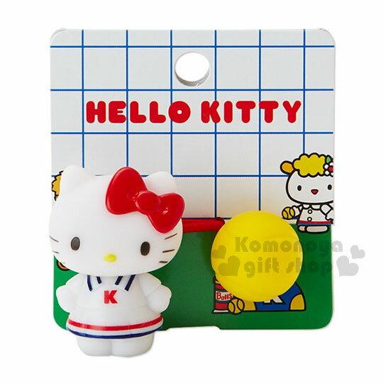 〔小禮堂〕HelloKitty造型軟膠彈力髮束《紅白.站姿》髮圈.復古網球系列