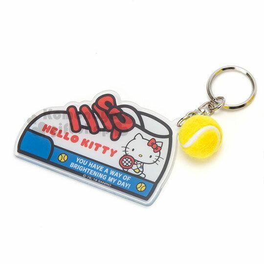 〔小禮堂〕HelloKitty壓克力布鞋造型鑰匙圈《紅白》吊飾.掛飾.復古網球系列