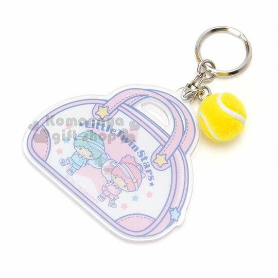 〔小禮堂〕雙子星壓克力提包造型鑰匙圈《粉白》吊飾.掛飾.復古網球系列