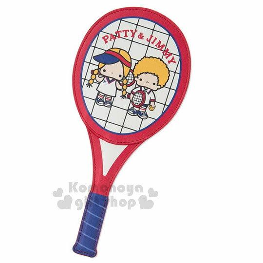 〔小禮堂〕Patty&Jimmy球拍造型皮革票卡夾《藍紅》證件夾.車票夾.復古網球系列