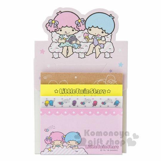 〔小禮堂〕雙子星日製自黏便利貼《粉.坐姿.吃冰》便條紙.4種圖案.80張