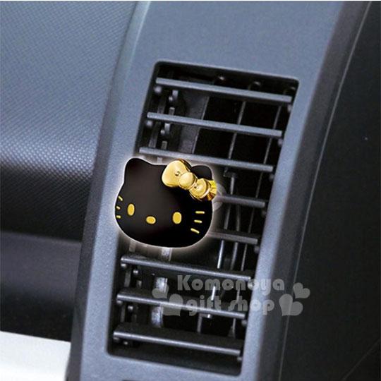 〔小禮堂〕HelloKitty車用造型芳香劑《2入.黑金.大臉.粉》洗髮香