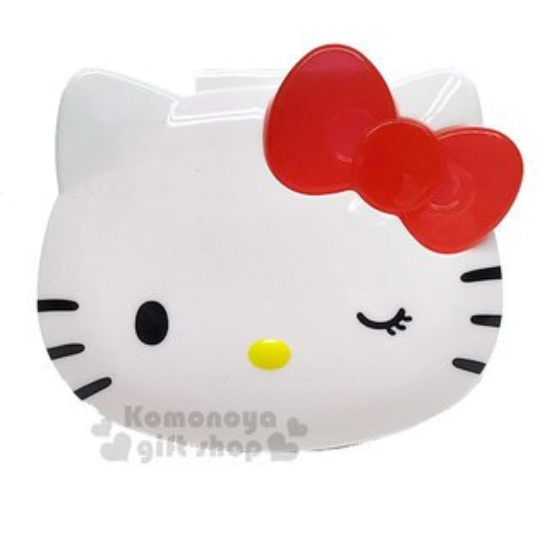 〔小禮堂〕HelloKitty造型睫毛收納盒《紅白.大臉》置物盒.銅板小物