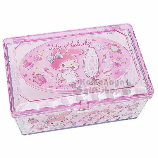 〔小禮堂〕美樂蒂菱格壓克力置物盒《粉.長方型.坐姿.化妝》收納盒.飾品盒