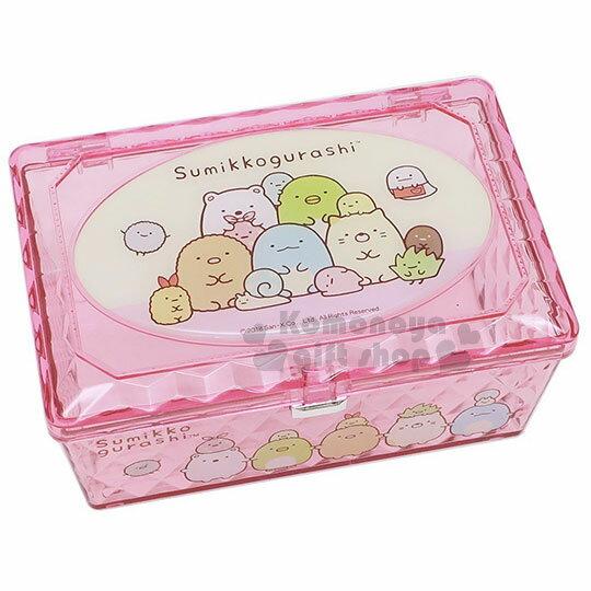 〔小禮堂〕角落生物菱格壓克力置物盒《粉.長方型.坐姿》收納盒.飾品盒