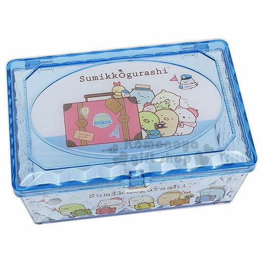 〔小禮堂〕角落生物菱格壓克力置物盒《藍.長方型.行李箱》收納盒.飾品盒