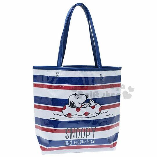 〔小禮堂〕史努比防水側背袋《深藍紅.條文.游泳圈》肩背袋.海灘袋