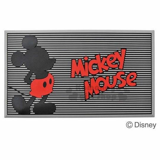 〔小禮堂〕迪士尼米奇矽膠腳踏墊《黑.站姿.灰條紋》35x60cm.地墊.浴墊