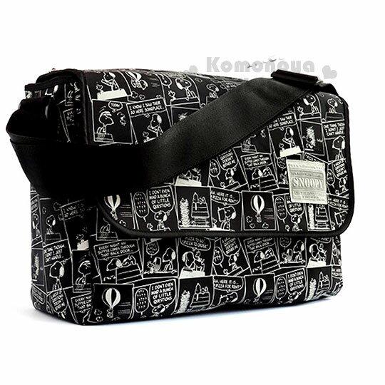 〔小禮堂〕史努比尼龍掀蓋式斜背包《黑.漫畫.滿版》側背包