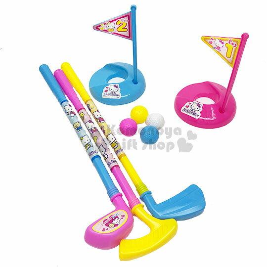 〔小禮堂〕HelloKitty高爾夫球玩具組《粉.旗子》適合3歲以上孩童.沙灘玩具
