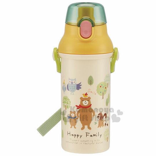 〔小禮堂〕森林小動物日製直飲水壺《綠蓋.米.多動物.家人》480ml.附背帶