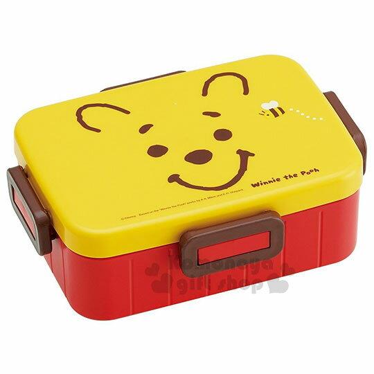 〔小禮堂〕迪士尼小熊維尼日製四面扣便當盒《紅黃.大臉.蜜蜂》650ml.保鮮盒