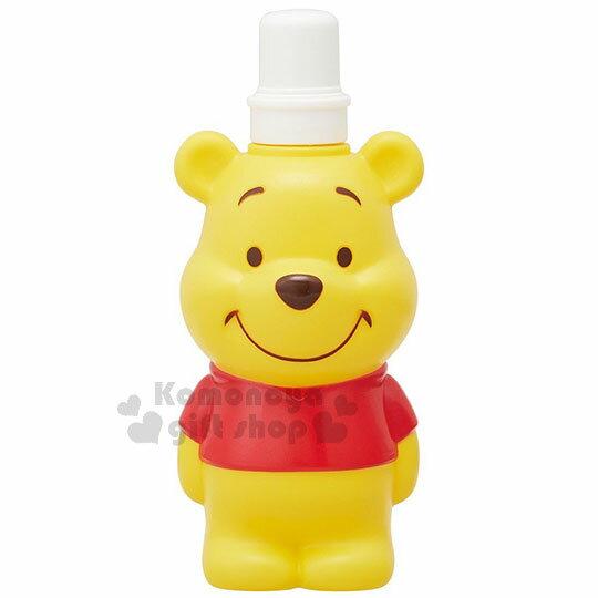 〔小禮堂〕迪士尼小熊維尼造型水壺《黃.站姿》500ml.附掛繩