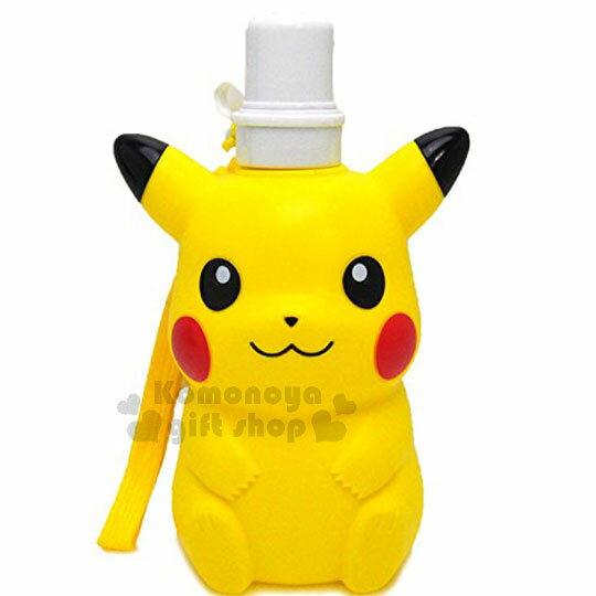 〔小禮堂〕神奇寶貝Pokémon皮卡丘造型水壺《黃.坐姿》500ml.附掛繩