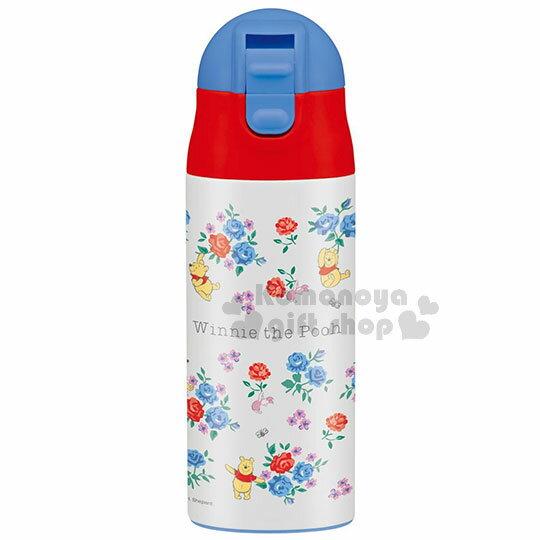 〔小禮堂〕小熊維尼超輕量不鏽鋼水壺《藍紅.滿版.玫瑰.多姿勢》360ml.保溫保冷