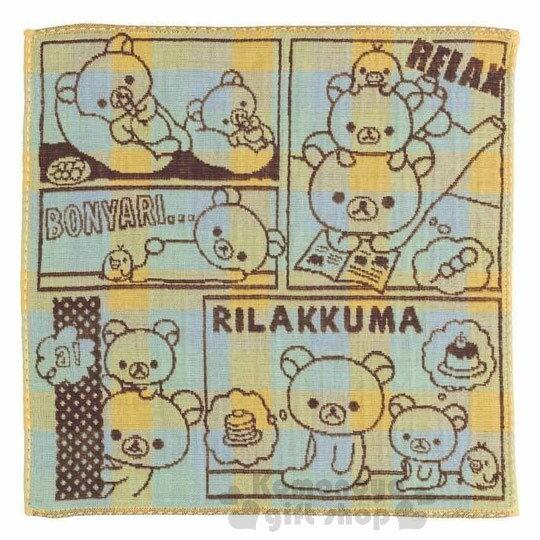 〔小禮堂〕拉拉熊懶懶熊日製純棉小方巾《黃棕.漫畫格.對話》25x25cm.今治毛巾