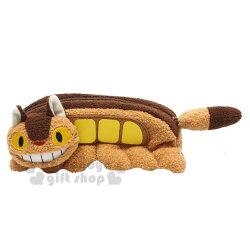 〔小禮堂﹞宮崎駿 Totoro 龍貓 造型絨毛筆袋《棕.龍貓公車》化妝包.萬用包