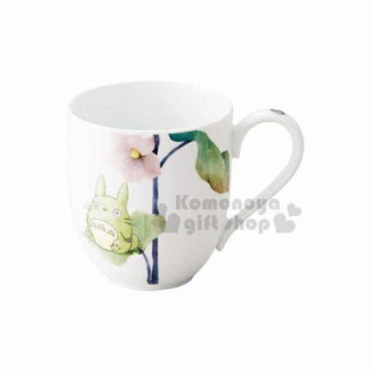 〔小禮堂〕宮崎駿Totoro龍貓陶瓷馬克杯《白.綠盒.坐姿.花朵》290ml.精美盒裝