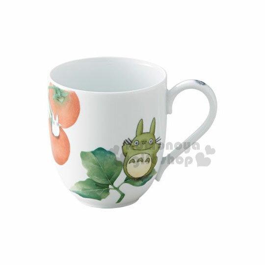 〔小禮堂〕宮崎駿Totoro龍貓陶瓷馬克杯《白.綠盒.站姿.番茄》290ml.精美盒裝