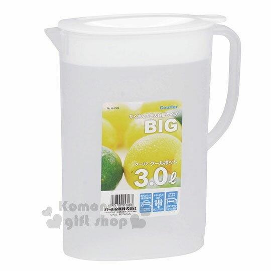 〔小禮堂〕PearlMetal日製冷水壺《白蓋半透明》3L.寬口構造