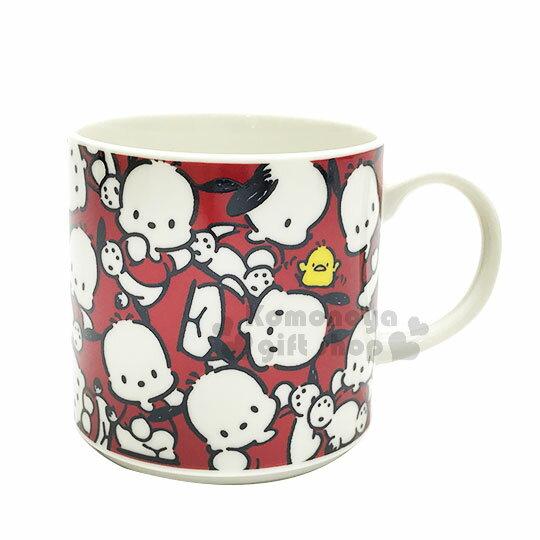 〔小禮堂〕帕恰狗日製陶瓷馬克杯《紅白.滿版》盒裝.日本YAMAKA陶瓷