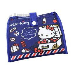 〔小禮堂〕Hello Kitty 折疊式環保購物袋《藍.行李箱.飛機》附扣式收納袋