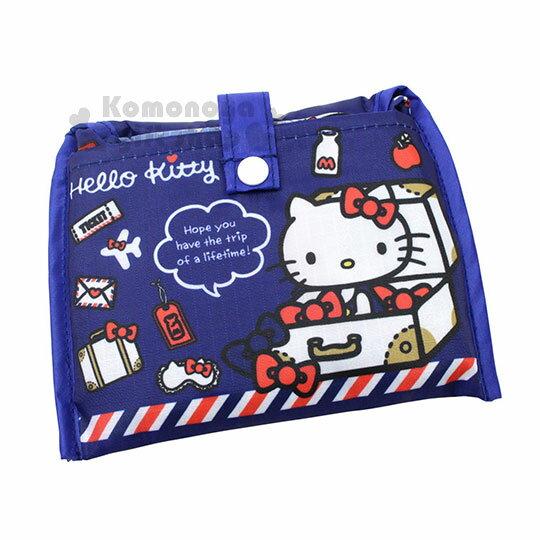 〔小禮堂〕HelloKitty折疊式環保購物袋《藍.行李箱.飛機》附扣式收納袋