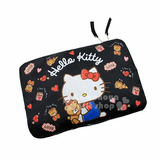 〔小禮堂〕HelloKitty尼龍收納型旅行袋《黑.愛心.滿版.小熊》手提袋.收納袋