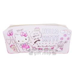 〔小禮堂〕Hello Kitty 帆布拉鍊筆袋《粉.蛋糕.小熊.滿版》收納包.化妝包.萬用包