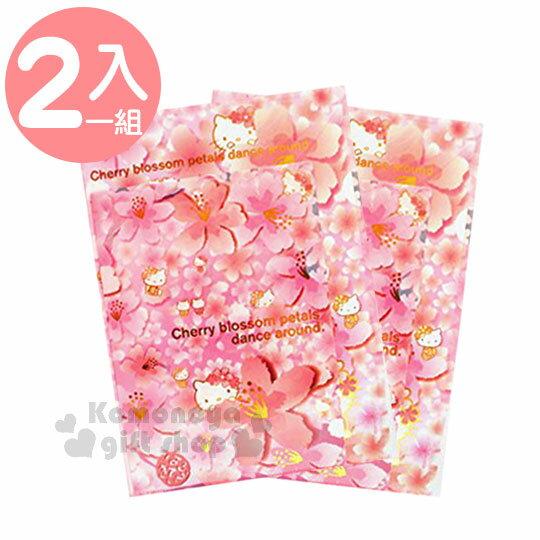 〔小禮堂〕Hello Kitty L型文件夾組《2入.A4.粉.櫻花.燙金》資料夾.L夾