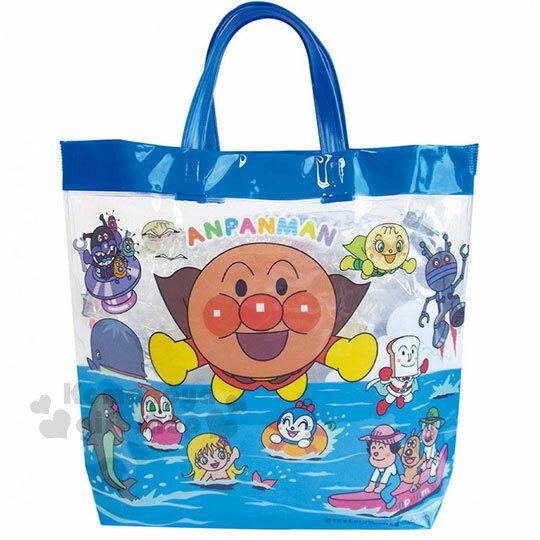〔小禮堂〕麵包超人防水手提袋《藍.海邊.飛.海豚》海灘袋