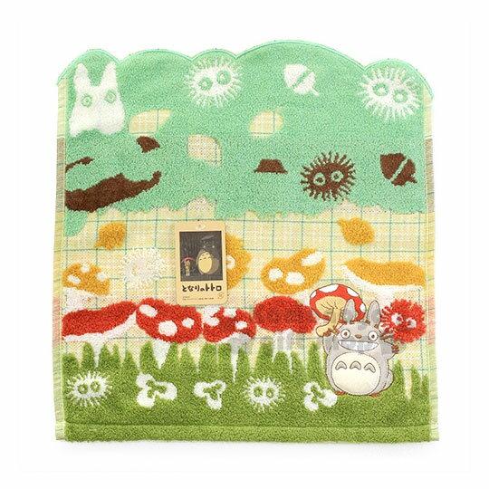 〔小禮堂〕宮崎駿Totoro龍貓棉質方形毛巾《綠.站姿.拿香菇》34x36cm