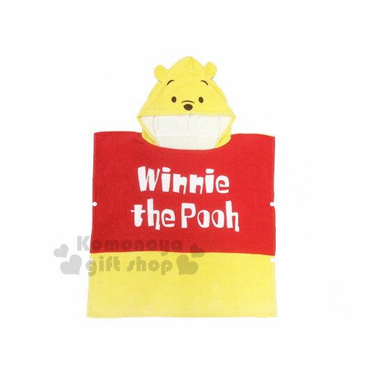〔小禮堂〕迪士尼小熊維尼造型棉質連帽浴巾《黃紅.大臉》60x60cm