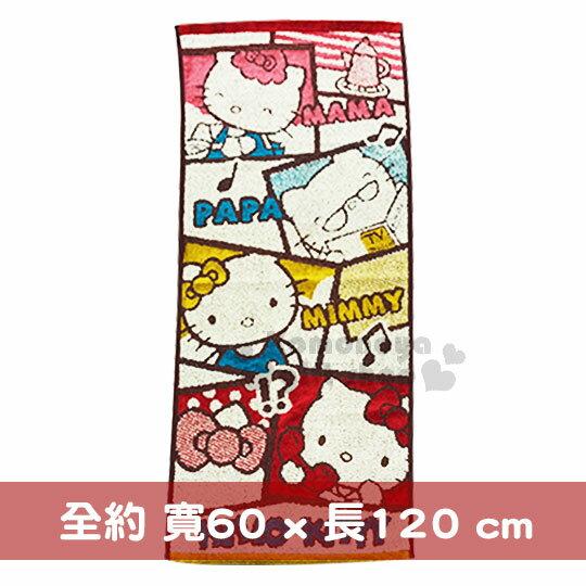 〔小禮堂〕HelloKitty純棉浴巾《灰紅咖.漫畫格子》60x120cm