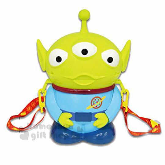 〔小禮堂〕迪士尼玩具總動員三眼怪造型收納桶附背帶《綠.站姿》爆米花桶.存錢筒