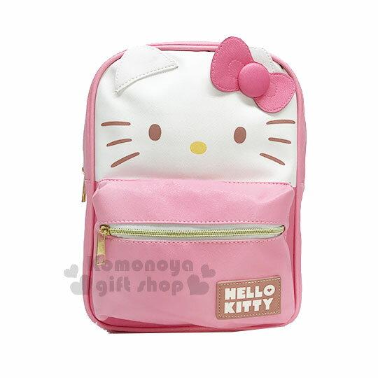 〔小禮堂〕Hello Kitty 造型皮革拉鍊後背包《M.粉白.大臉.立體耳朵》可調式背帶