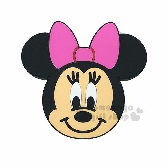 〔小禮堂〕迪士尼米妮矽膠造型無線充電器《粉.大臉》行動電源