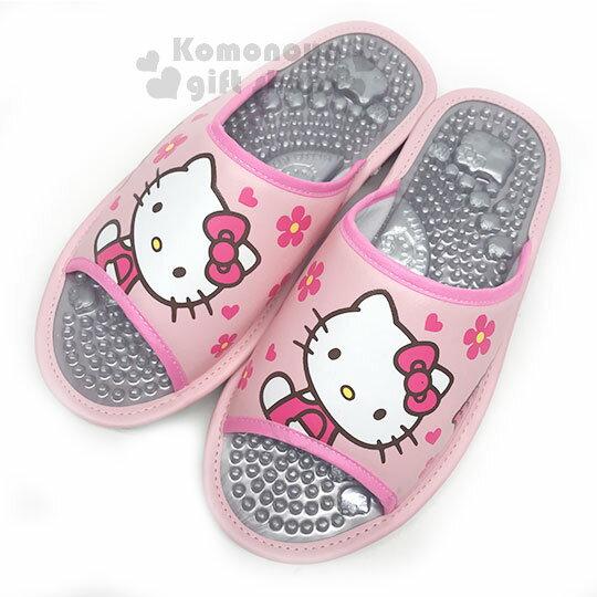 〔小禮堂〕HelloKitty皮革健康按摩拖鞋《桃.側坐.花》室內拖鞋.涼鞋