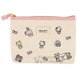 〔小禮堂﹞Hello Kitty 帆布扁平化妝包《粉.米.牛奶瓶.滿版》筆袋.收納包