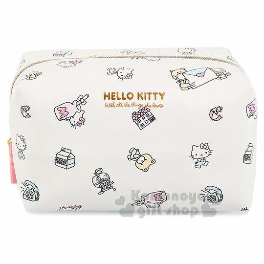 〔小禮堂﹞HelloKitty皮質方形化妝包《白.牛奶瓶.滿版》筆袋.收納包