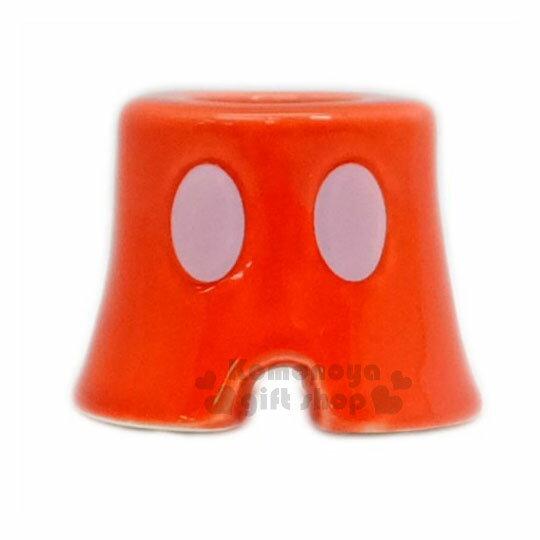 〔小禮堂〕迪士尼米奇造型陶瓷牙刷架《S.紅.褲子》精緻盒裝.筆架