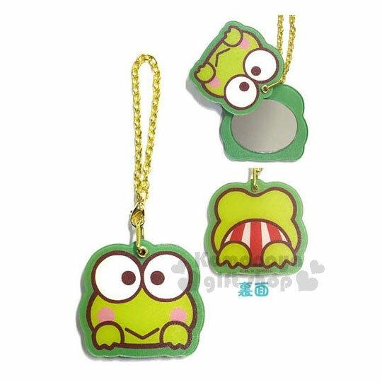 〔小禮堂〕大眼蛙造型隨身鏡吊飾《綠.大臉.趴姿》掛飾.鑰匙圈